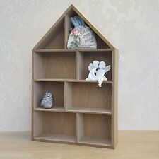 Small Wooden House shape Wall Display Cabinet Multi Shelf Unit