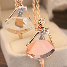 Beautiful Ballerina Necklace Golden with Pink Crystal Glass Bead -Very Sparkly