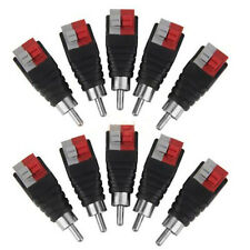 Speaker Wire Cable to Audio Male RCA Connector Adapter Jack Plug Useful 10PCS