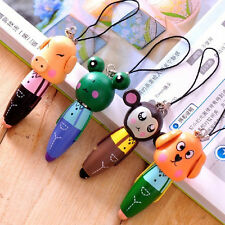 Cute Wooden Cartoon Animal Head Ballpoint Pen KeyChain Mobile Chain BallPen