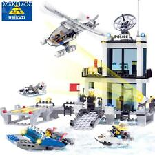 Police Station Building Blocks Helicopter Boat Model Bricks Toys brinquedos