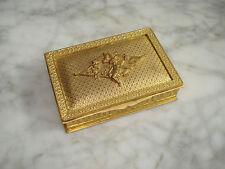 BOITE à TIMBRES Ancienne Bronze Doré Décor Angelot - Antique Stamp Box