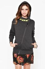 WOMEN'S/JRS GIRLS FOX AMATEUR  ZIP UP HOODIE FLEECE CHARCOAL NEW $68 SIZE S
