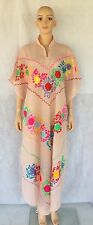 Vintage 70s Ethnic Mexican Dress Embroidered Boho Caftan Draped Festival Maxi OS