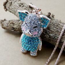 Fashion Gold Lovely blue crystal Pig pendant Long Necklace Sweater chain FF175