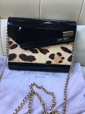 Jimmy Choo Black Resin Leopard Pony Hair Candy Leopard Crossbody Clutch Bag