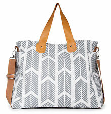Gray Arrows Weekender Tote Bag by White Elm - Diaper Nappy Baby Large Canvas