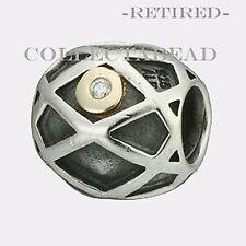 Authentic Pandora Silver & 14k Web Diamond Bead 790164D *RETIRED*