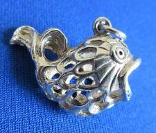 VINTAGE in Sterling Silver Bracciale con Charm Grandi decorata pesce palla