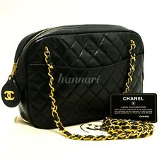 Authentic CHANEL Vintage Small Chain Shoulder Bag Black Quilted Lambskin c72