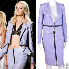 New Versace Floral Embossed Lilac Leather Jacket and Skirt Suit 38 - 2