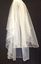 White wedding veil bordered with elegant tear drop pearls and crystals 2 tier