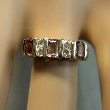 9ct gold second hand diamond & tourmaline ring