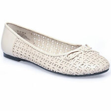 Hush Puppies Womens Phoenicia Ballerina Shoes in Natural( Off White) 8