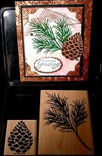 Stampin Up Rare Retired ORNAMENTAL PINE BRANCH & BEAUTIFUL PINE CONE Christmas