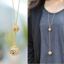 Women Charm Ball Fashion Crystal Hollow Out Long Necklace Pendant Xmas Jewelry
