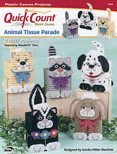 Animal Tissue Parade ~ Raccoon Cat Dog Bunny Skunk plastic canvas patterns