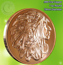 """""""Chief Red Cloud"""" American Indian Series Copper 1 oz .999 Copper Round"""