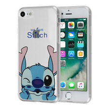 Carcasa Funda De Silicona TPU Ultra Fina Dibujo Stitch para Apple iPhone 7 4.7""