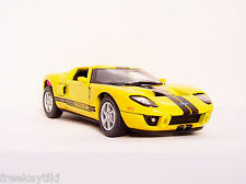 YELLOW BLACK Stripes 2006 06 FORD GT Car Diecast Model 1/36 Pull Back Sportscar