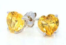 2 Ct Citrine 6mm Heart Shape Stud Earrings .925 Sterling Silver