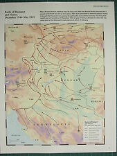 WW2 WWII MAP ~ BATTLE OF BUDAPEST & VIENNA DEC 1944 - MAY 1945 HUNGARY ATTACKS