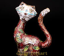RARE GOOD LUCK CLOISONNE ART CAT STATUE FIGURINE VINTAGE COLLECTABLE OLD