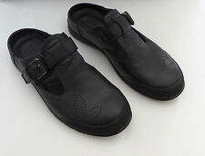 New ECCO Babett Black Leather Strap Slip On Slides Mules Clogs Shoes 38 7 / 7.5