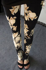 Black & Cream floral extra soft leggings -  8 - 12 UK, flowers, nature, elegant