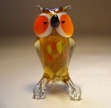 "Blown Glass Figurine ""Murano"" Small Bird OWL with Orange Eyes"