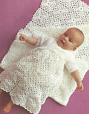 "Baby Crochet Pattern Christening Dress and Shawl/Blanket 3ply  18-19""  508"