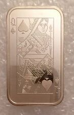 Queen Of Spades Card Reverse Type 4 999 SILVER ART BAR 1 Troy oz