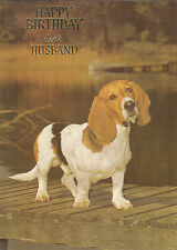 Vintage 1970's Basset Hound Happy Birthday Husband Greeting Card ~ Puppy Dog