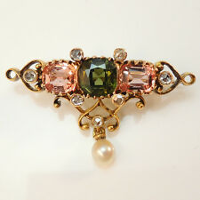 Beautiful 14cart gold vintage antique pink & green spinels and rose cut diamonds