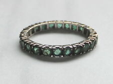 Antique Emerald Full Hoop Eternity Ring Silver Band