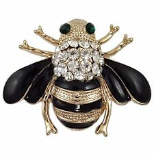 GOLD PLATED BUMBLE BEE BROOCH PIN MADE WITH SWAROVSKI ELEMENTS