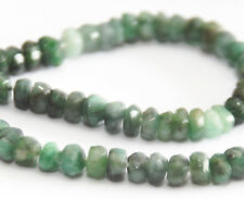 HALF STRAND SMALL LIGHT GREEN EMERALD FACETED RONDELLE BEADS, 3.5 MM, GEMSTONE