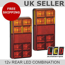 Pair of 12v Rectangle Rear LED Trailer Lights *3 YEAR WNTY* Stop/Tail/Indicator