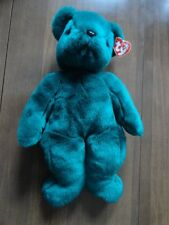 Beanie Buddie TY Teal Teddy Bear Old Face Retired