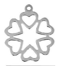 5 STERLING SILVER 925 CHARMS / PENDANTS WITH 6 HEARTS & RING, 16 X 14 MM