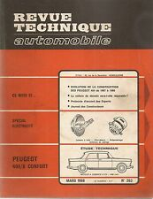 REVUE TECHNIQUE AUTOMOBILE 263 RTA 1968 ETUDE PEUGEOT 404/8 CONFORT 404 1967 68