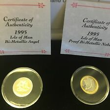 1995 Isle Of Man Dual 1/4 Oz Bi-metallic Gold/platinum Proof Coins COA Pobjoy