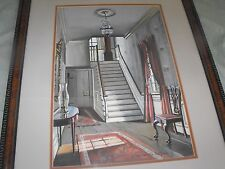 Ruth Perkins Safford DC Artist Interior of House Foyer Scene Watercolor Painting