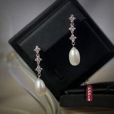 Boucles d`Oreilles Perle de Culture Goutte Long Blanc Argent Massif 925 14mm D