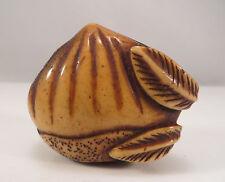 Antique Japanese Stag Antler Netsuke of Chestnut & Leaves Japan