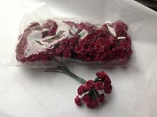 144 BURGUNDY CRAFT SATIN MINIATURE RIBBONS ROSES WEDDING FAVORS