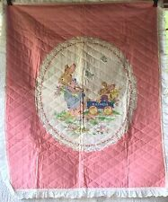 Vintage BABY CRIB Quilt Mother Rabbit & Child Pink ~ Lace Border