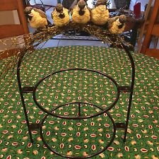 "Two Tier Black Metal Cake Plate Stand Server Bird Perched On Top 17 1/2"" VINTAGE"