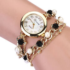 girls Luxury Brand Artificial Faux Pearl Flower Chain Quartz watch for women