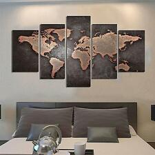 5 Panels Abstract World Map Print Wall Art Painting Picture Canvas Home Decor